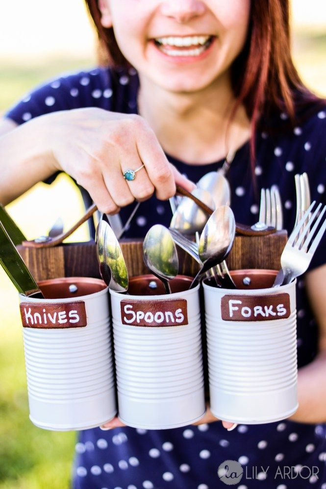 Make your own flatware caddy for BBQs ,picnics and camping