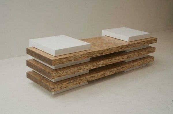 Contemporary Bench in Concrete and Wood Combination   Cubed Bench