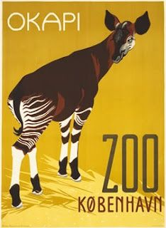 Vintage zoo posters from around the world :: Okapi - Zoo Kobenhavn