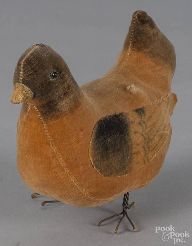 Velvet chicken pincushion, 19th c., 5'' h., 6 1/4'' w. | Bidsquare