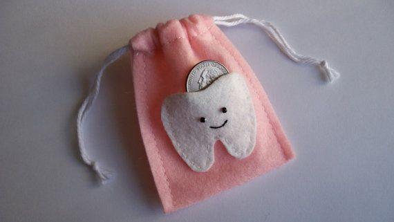 Luz rosa bolsa de fieltro de hada de los dientes - nueva opción de personalización