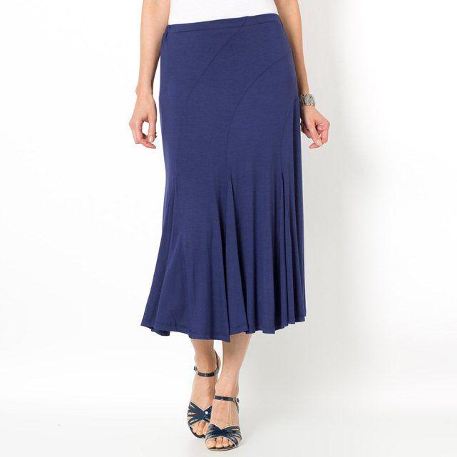 Softly Draping Skirt with Elasticated Waistband- black- 14, black,purple