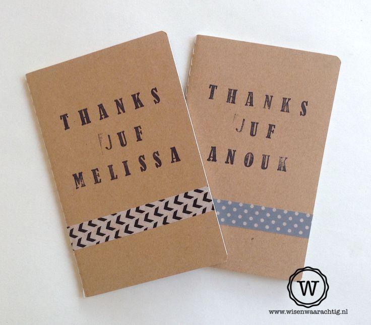 Bedank de juf met een persoonlijk notitieboekje met haar naam. #juffenkado #persoonlijk #bijzonder
