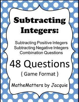 $  { Classroom Ready } { Students Check their own Answers }  Subtracting Integers: { 48 Questions } Game/Activity   Cla