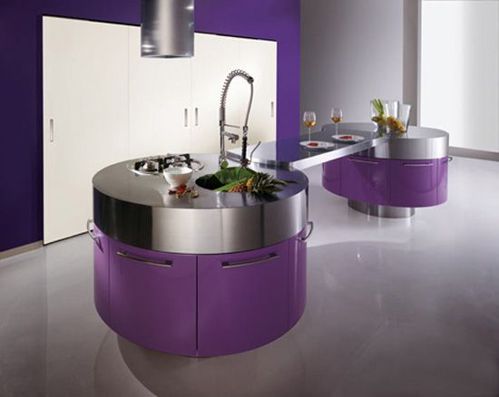 Inspirational Purple Kitchen Design Ideas - Purple Kitchen with Cylindrical Fan Above Stainless Steel Countertop