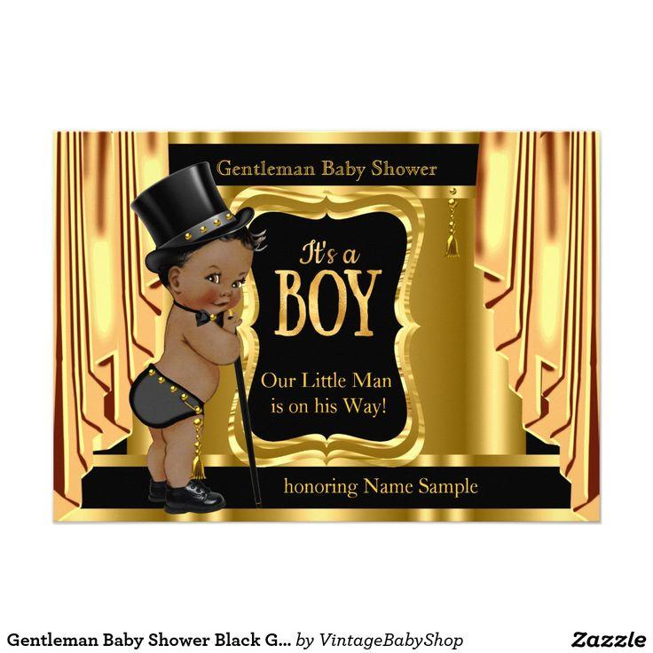 Gentleman Baby Shower Black Gold Drapes Ethnic Card