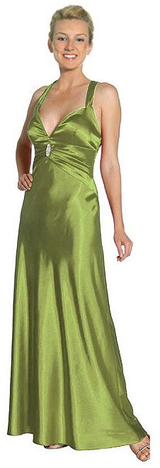 Discount Olive Prom Dress Halter Criss Cross Open Back Satin Gown $99.99