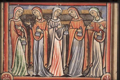 Five foolish virgins; France, 12th Century