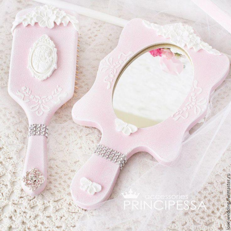 """Купить """"Розовый и фуксия"""" расческа и зеркальце невесты - бледно-розовый, аксессуары, Аксессуары handmade"""