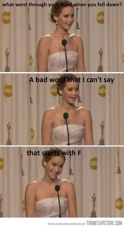 And when she does it's adorable. | 20 Signs That Jennifer Lawrence Is Your Spirit Animal
