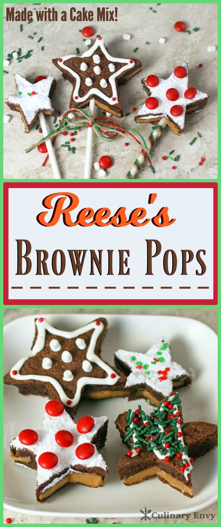 Reese's Brownie Pops are peanut butter cups stuffed inside soft, chewy, chocolaty brownies made with a cake mix.  Only 4 simple ingredients to make your family swoon!  Click to read more or Pin & Save for later!