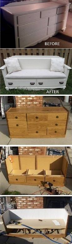 Turn An Old Dresser Into A New Bench – DIY... For the boys play room