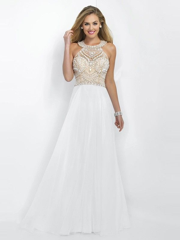 A Line/Princess Scoop Sleeveless Chiffon Beading Floor Length Dresses
