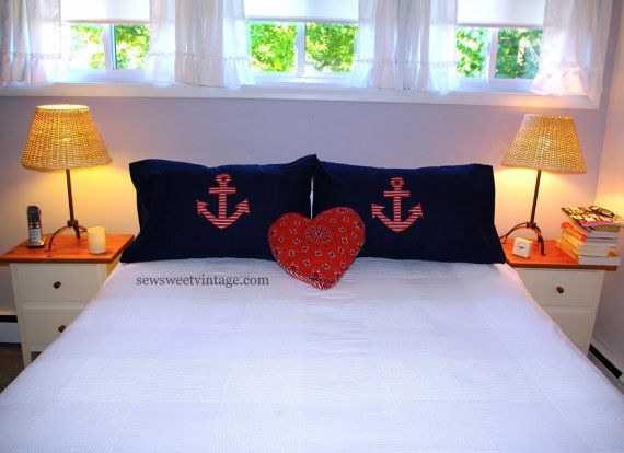 anchor pillow case, nautical pillowcase,  anchor pillow, nautical pillow, sailor pillow, beach pillow, boat pillow, custom fabric, bedding on Etsy, $38.00