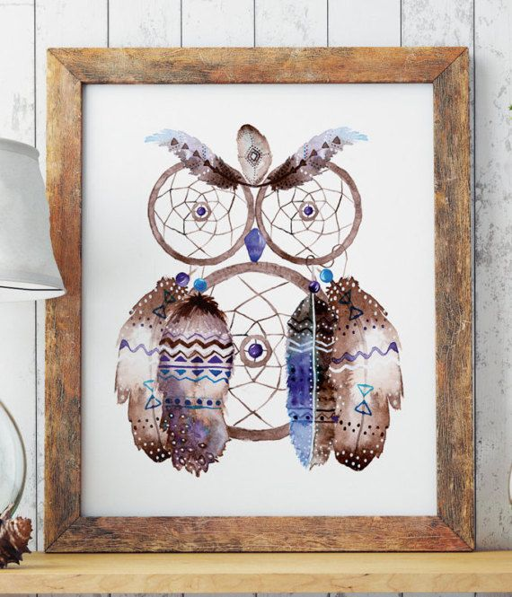 Boho Owl Dreamcatcher  Hand painted watercolor drawing. Sacred feathers and dreamcatcher in the shape of an owl. Hippie style art. High resolution .jpeg ready to be printed  Check out other products from the same series:  https://www.etsy.com/listing/513092123/boho-dreamcatcher-watercolor-feathers?ref=listing-shop-header-1  https://www.etsy.com/listing/499608010/boho-feathers-hippie-art-printable-wall   ZuskaArt : artwork | watercolor pai...
