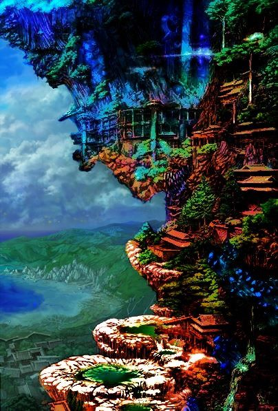 ___ORIGINAL & ENHANCED___     ____VERSIONS COMBINED____ the hanging temple ,anime ,landscape ,manga ,art ,fantasy ,temple