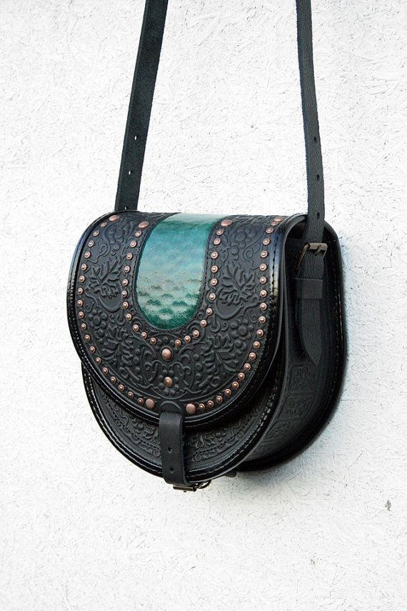 black green leather bag - shoulder bag - crossbody bag - handbag - ethnic bag - messenger bag - for women - capacious