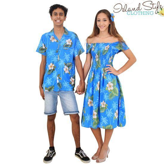6987b3a1f4 Couples Set Turquoise Hibiscus Capped Sleeve Dress   Hawaiian Shirt Cruise