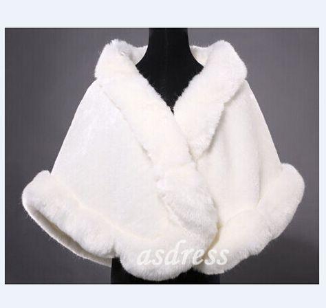 Manteau en fausse fourrure blanche Ivoire châle en fausse fourrure d'hiver robe nuptiale Shrug Wrap mariage de demoiselle : Manteau, Blouson, veste par asdress
