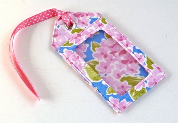 Fabric Luggage Tag Pink Floral by nangatesdesigns on Etsy, $9.00