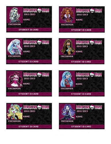 Print At Home Monster High Party Favor ID Cards