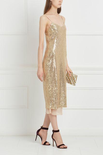Платье с пайетками T-Skirt - Платье-комбинация с пайетками золотистого цвета в интернет-магазине модной дизайнерской и брендовой одежды