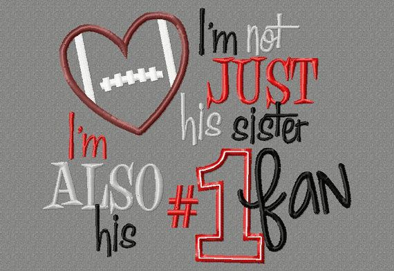 Football Sister saying 5X7 Embroidery design, #1 fan on Etsy, $4.00