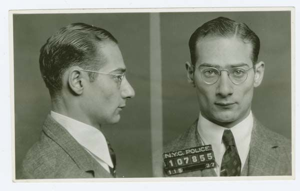 Police Department, City of New York black and white mug shots of Morris Goldis, alias Moish (1937).