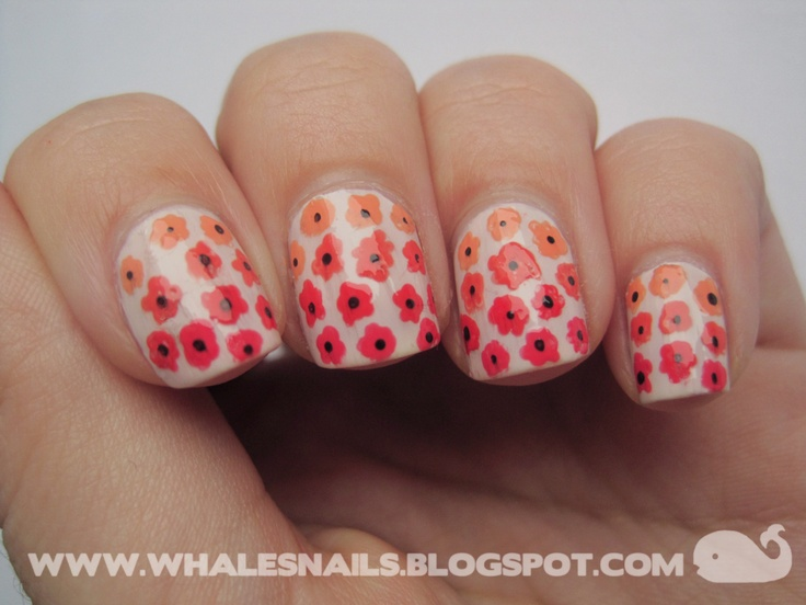 http://www.whalesnails.blogspot.com/2013/03/nail-art-sunday-gradient-flowers.html  Spring Gradient Flowers