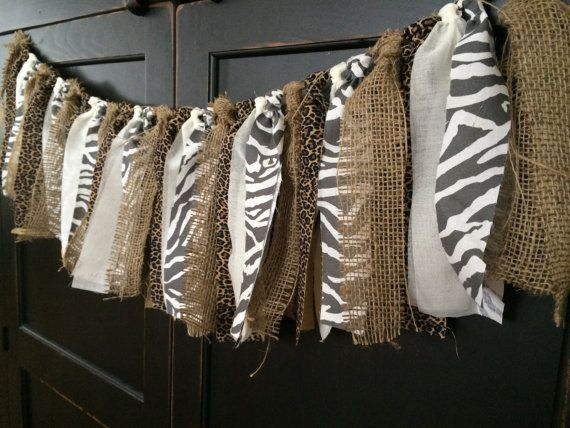 Rustic Safari Fringe Rag Tie Garland in Burlap, Leopard, Zebra Print Fabric