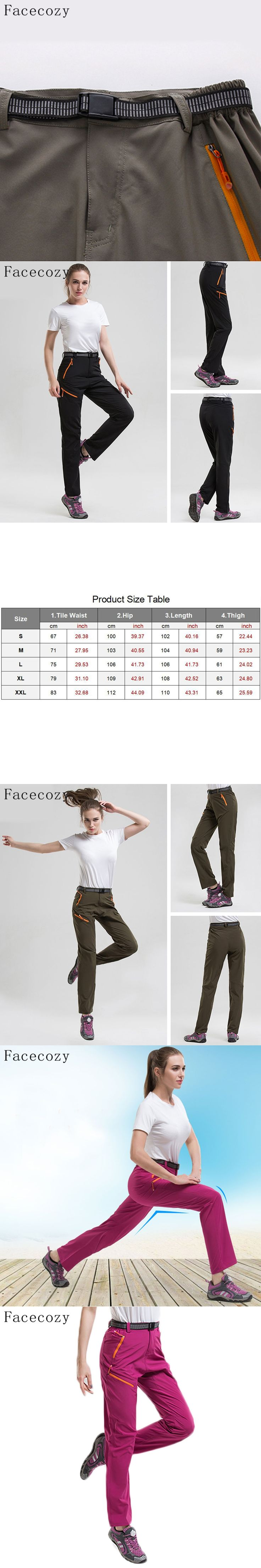 Facecozy Women Outdoor Hiking Quick-Dry Pants Thin Breathable Slim Trousers Summer &Spring Climbing Fishing Outdoor Sports Pants