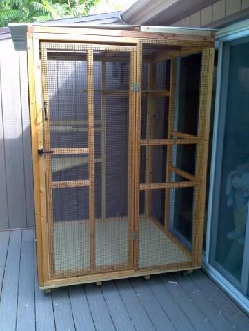 Indoor/Outdoor cat cage. For the best of both worlds - use indoor or outdoor. Sunshine and fresh air ... and a sense of a little freedom.   Use as a isolation cage, birthing area, get acquainted room.