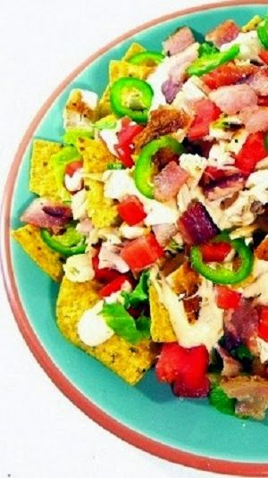 Chicken Nacho Salad... Appetizer, Snack or even MAIN COURSE!... LOAD 'EM UP and this is indeed loaded up with all sorts of goodies... Bacon, Chicken, peppers and so much more all bound together with melty cheese!!!