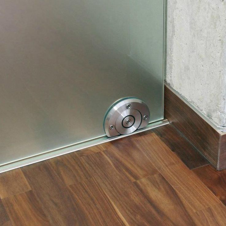 Frameless Brushed Stainless Steel Floor Roller Glass