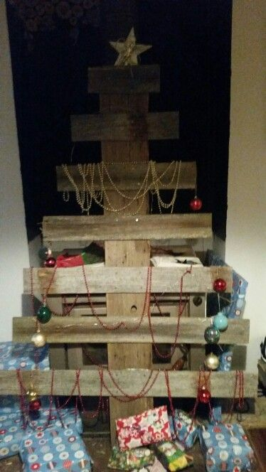 Rustic xmas tree from old fence pailings