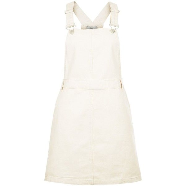 New Look Cream Cotton Dungaree Pinafore Dress ($37) ❤ liked on Polyvore featuring dresses, winter white, new look dresses, ivory dress, white day dress, white ivory dresses and pinafore dress