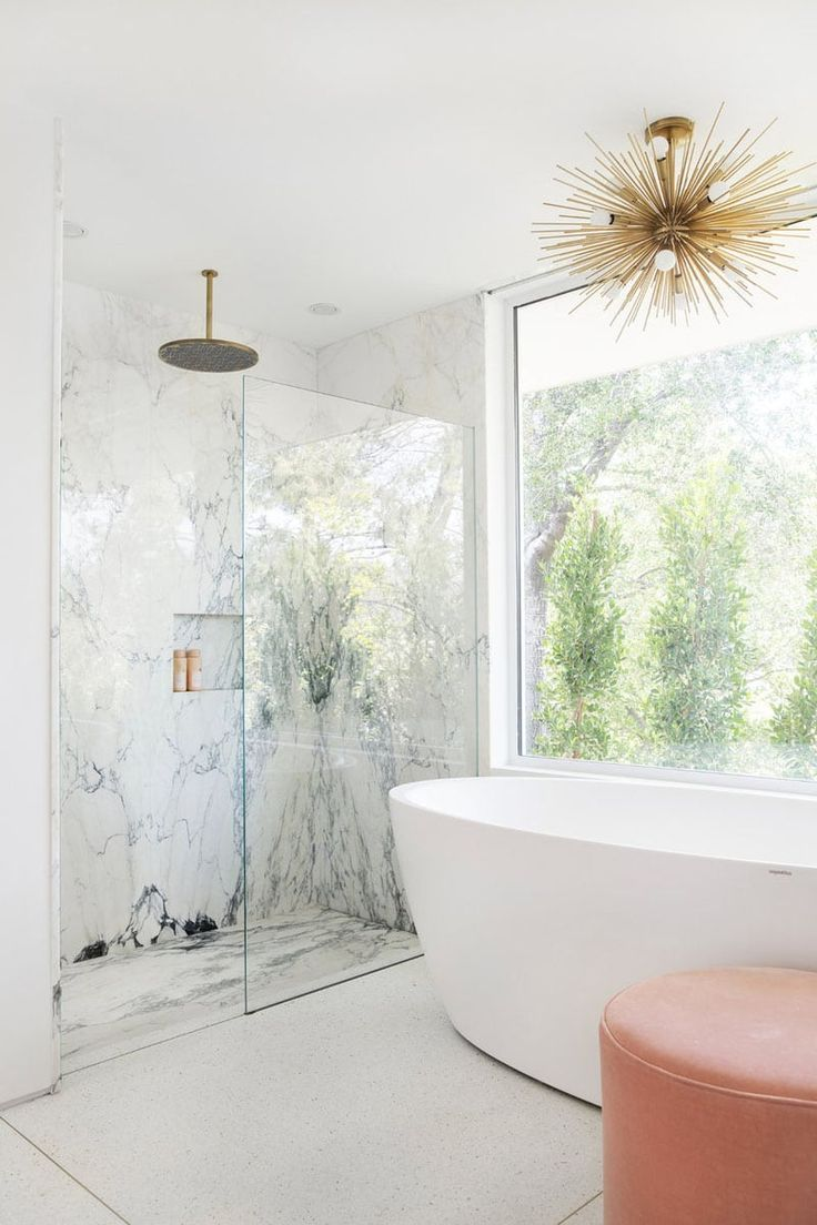 the marble in that shower is incredible home decor