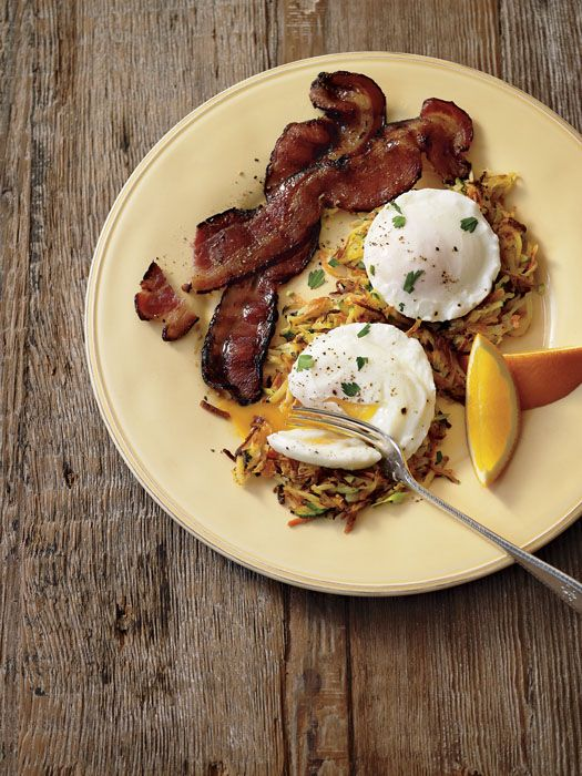 Today's Recipe: Garden Hash Browns with Poached Eggs and Bacon