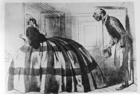 """Madame can live in one room and the crinoline in the other one."" Le Journal Illustré, 1867:"
