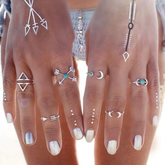 Boho anelli SET per donne Vintage bohemien spiaggia unica scultura tibetano argento placcato Punk ginocchiera anello splendido Flash tattoo