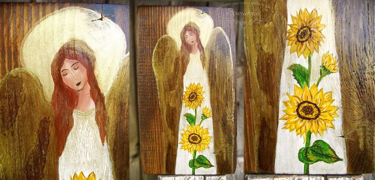 Angel with sunflowers painted on reclaimed wood