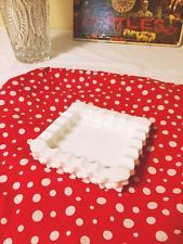 Vintage Milk Glass Hobnail Square Ashtray Cigarette Pipe White Ashtray