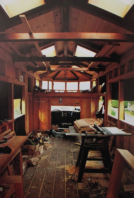 beautiful bus conversion, or skoolie... I love the all wood look. The little loft-like platform over the driver area is cool looking. I wish it had a link. If you know of one, please message me.