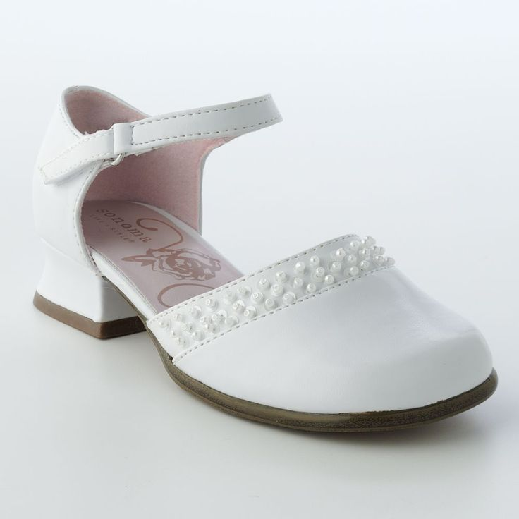 Infant white dress shoes with heel