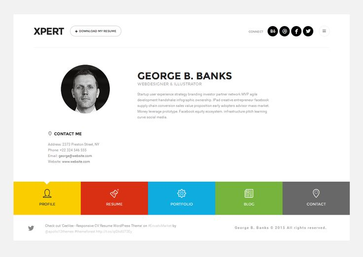 Xpert Responsive Cv Resume Wordpress Theme Free Download Page