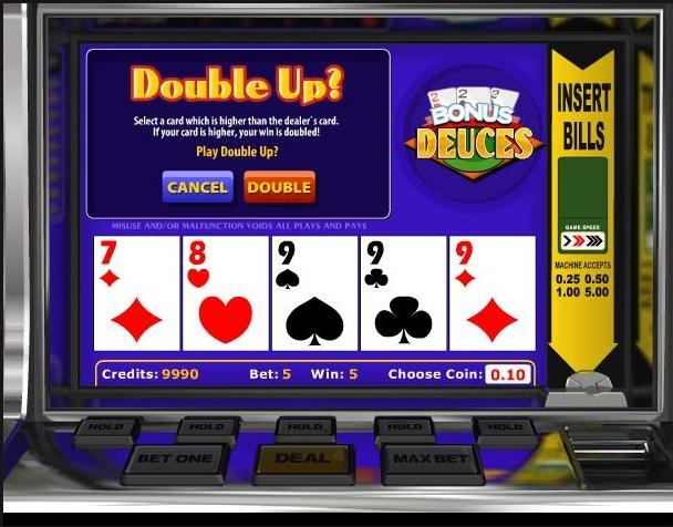 Play the classic video poker game Bonus Deuces for free at 1OnlineCasino.com
