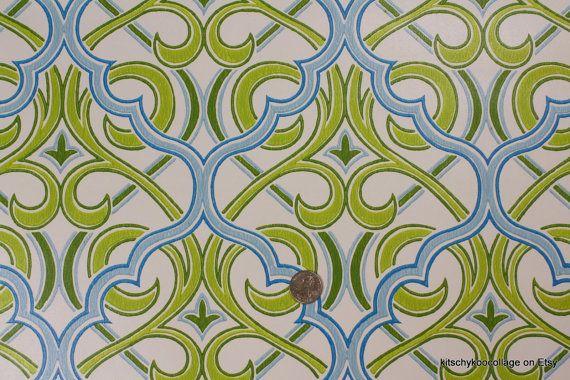 Vintage wallpape...1970s Wallpaper Green Leaves