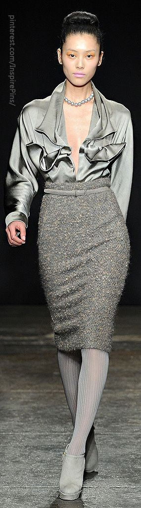 Donna Karan!  I would have to wear a cami under blouse!  Love the gray..different textures..gray shoes!
