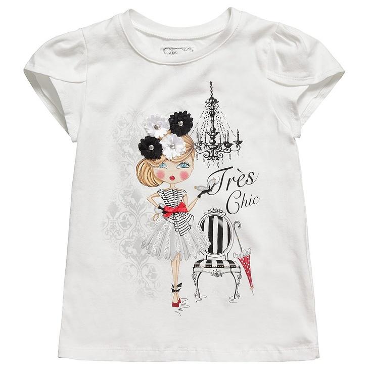 Girls Ivory Cotton T-Shirt   Childrensalon