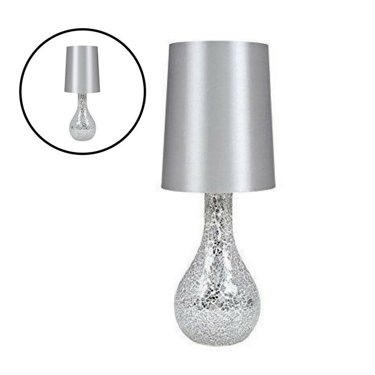 Modern Table Lamp Contemporary Home Decoration Light Satin Shade Silver Design #Unbranded #Contemporary